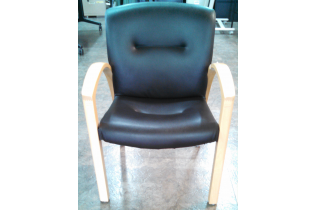 Black Leather Wood Side Chair